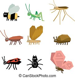 Collection of insects cartoon, vector illustration set