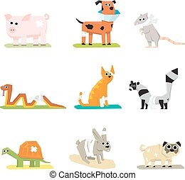 Veterinary pet health care animal medicine icons