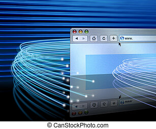 Optical fibres around web - Optical fibers lights speeding...