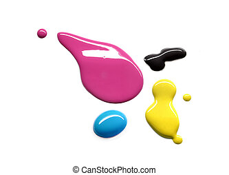 Printing inks - Drops of printing inks cyan magenta yellow...