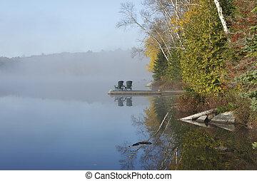 Autumn Shoreline on a Misty Morning - Ontario, Canada