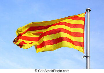Catalan flag on the wind in Barcelona
