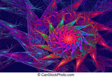 illustration fractal background with bright flower with...