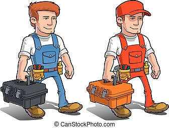 Handyman - Carying Toolkit.eps - Vector cartoon illustration...