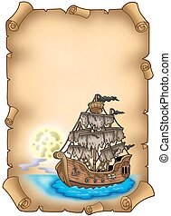 Old scroll with mysterious ship - color illustration.