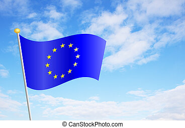 European Union Flag Against Sky - European Union flag...
