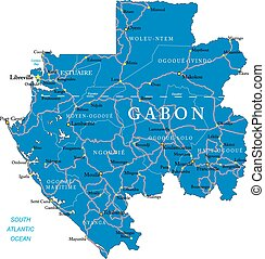Gabon map - Highly detailed vector map of Gabon with...
