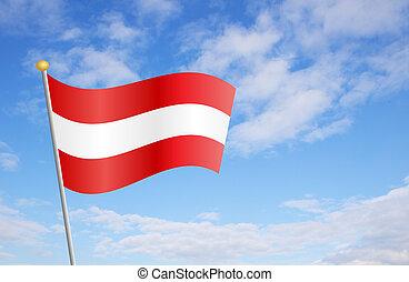 austrian, 旗, に対して, 空,