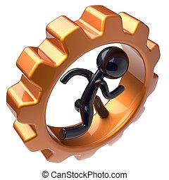 Gear wheel man character running inside gearwheel cogwheel