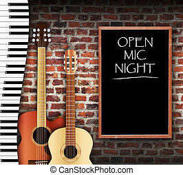 Open Mic Night - Guitars and keyboard against brick wall...