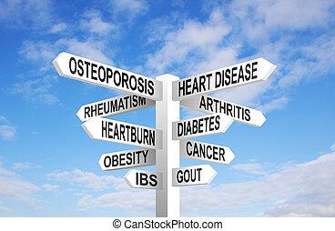 saúde, signpost,