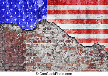 American Flag On Grungy Wall - Grungy old brick wall with...