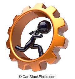 Man character inside gear wheel running cogwheel business