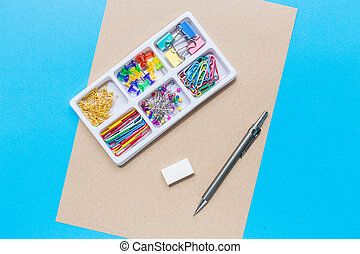 stationery collection in black box surface top view