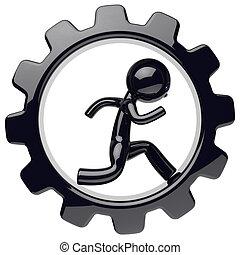 Man character work inside gearwheel black gear wheel icon
