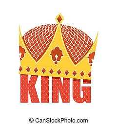 Gold Crown with diamonds. Crown for King. Vector illustration Royal accessory