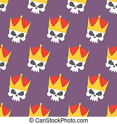 Skull Crown Seamless pattern. Vector background head...