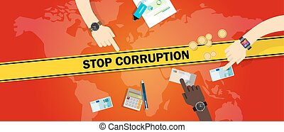 stop corruption bribe corrupt hands offering money cash...