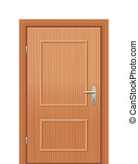 Wooden Room Door Closed - Wooden room door, closed Isolated...