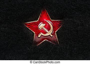 piel, hoz, ruso, estrella, martillo, rojo