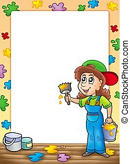 Frame with cute house painter - color illustration.