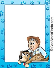 Frame with dog at veterinarian - color illustration.