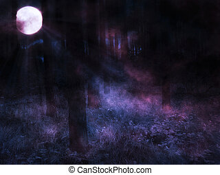 Moon in Night Forest - Dark mysterious foggy forest and full...
