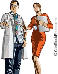 Doctor and girl with a laptop - Picture of a man in a lab...