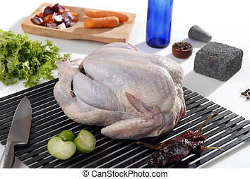 Raw turkey ready to cook - A complete raw turkey being...