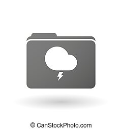 Isolated folder icon with a stormy cloud