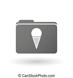 Isolated folder icon with a cone ice cream