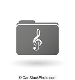 Isolated folder icon with a g clef - Illustration of an...
