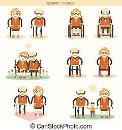 Old people lifeVector icons isolated for design