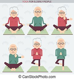 Elderly people yoga lifestlye.Vector symbols of isolated...