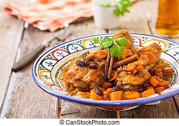 maroc style chicken - chicken with carrots and raisin maroc...