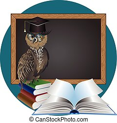 Wise Owl - Cartoon great horned owl wear big eye glasses.