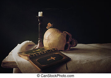 Bible, Skull, Candle as Symbol for Life, Death and...