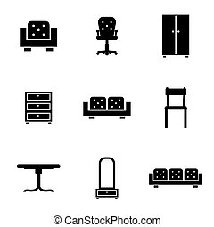 Set of furniture icons silhouettes in black.