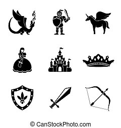 Set of monochrome fairytale, game icons with - sword, bow, shield, knight, dragon, princess, crown, unicorn, castle. Vector