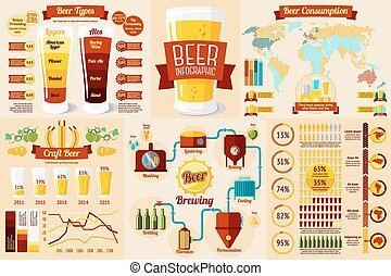 Set of Beer Infographic elements with icons, different...