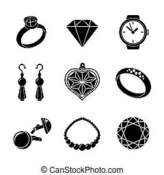 Jewelry monochrome icons set with - rings, diamonds, watch, earings, pendant, cuff links, necklace. Vector