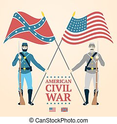 American Civil War illustration - southern and northern soldiers in uniform, holding flags, rifles. vector
