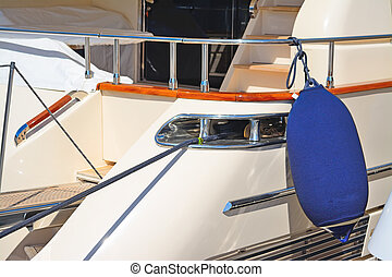 boat fender on a luxury yacht in Porto Cervo, Italy