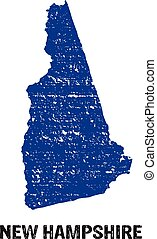 New Hampshire stamped map logo