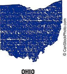 Ohio grunge seal map logo
