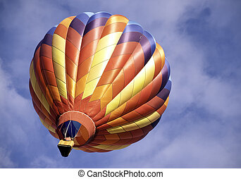 Off We Go - Hot air balloon climbs into the sky