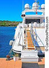 luxury yacht in Porto Cervo dock, Sardinia