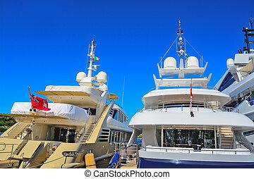 luxury yachts in Porto Cervo dock, Sardinia