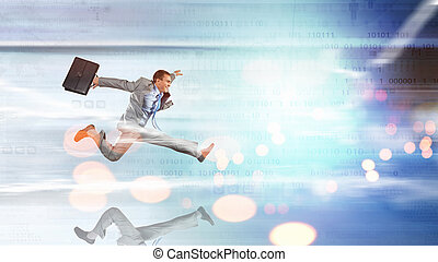Full speed businessman - Young businessman in suit running...