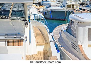 yachts in Porto Cervo dock - yachts in Porto Cervo harbor,...